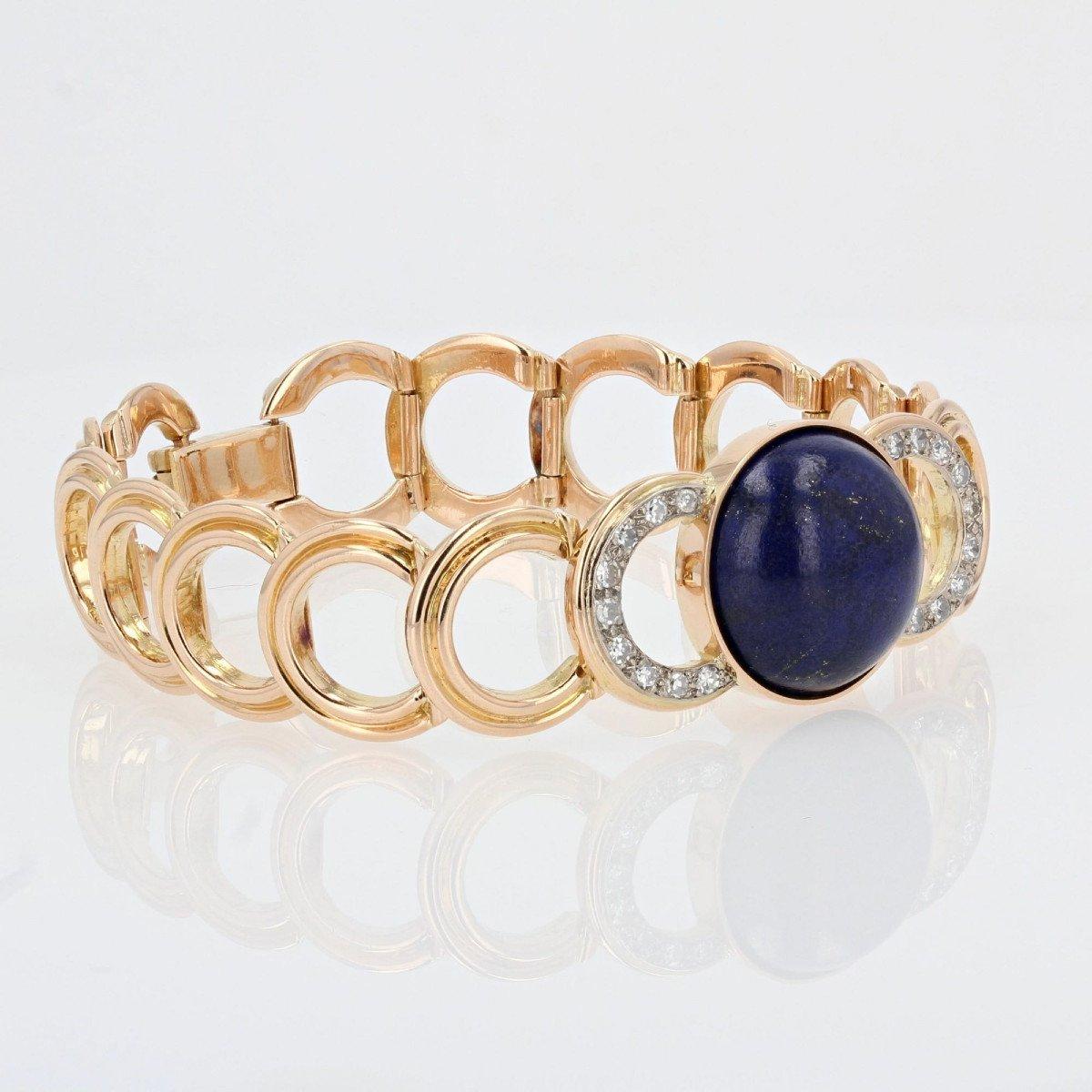 Gold Bracelet With Diamonds And Its Lapis Lazuli Cabochon-photo-3