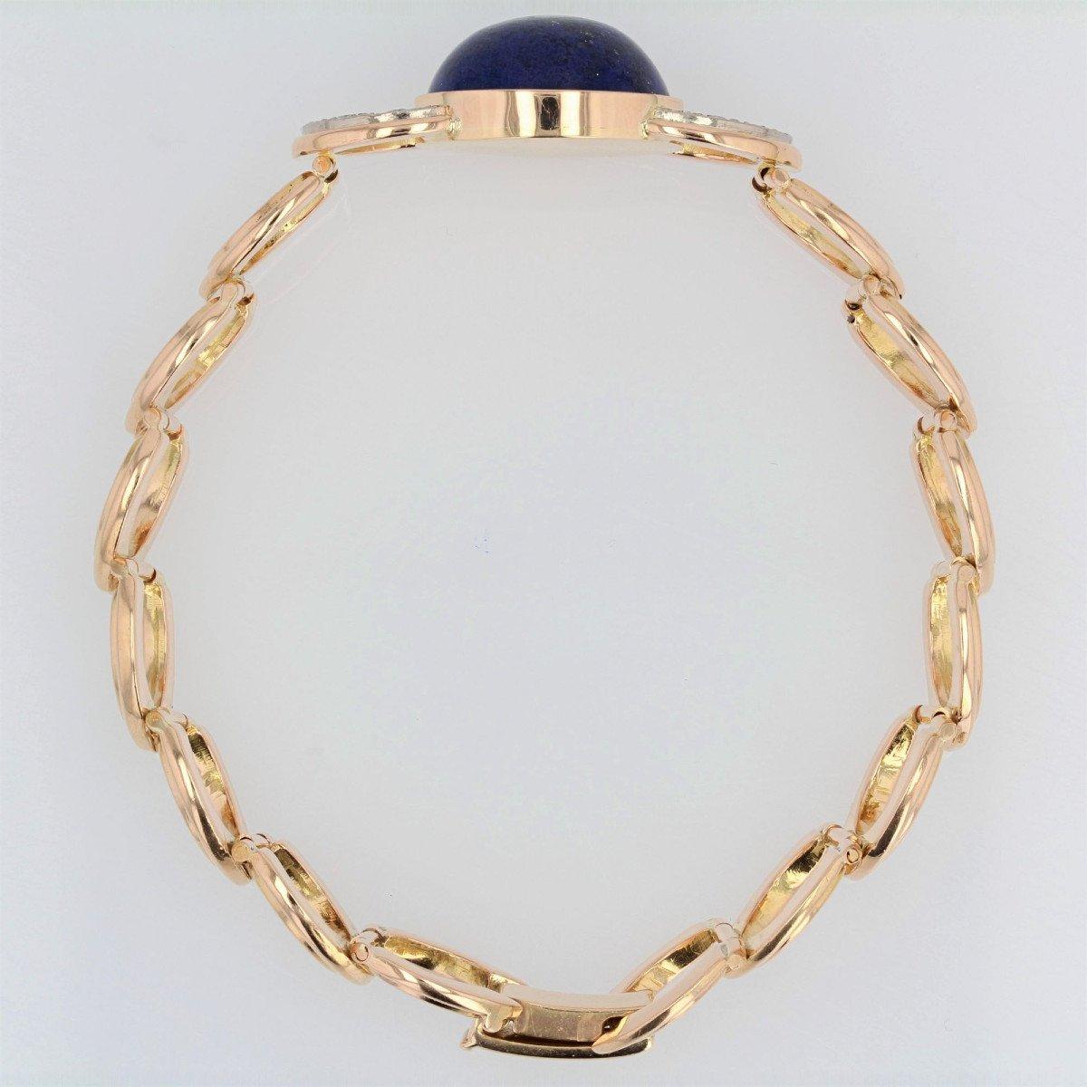 Gold Bracelet With Diamonds And Its Lapis Lazuli Cabochon-photo-5