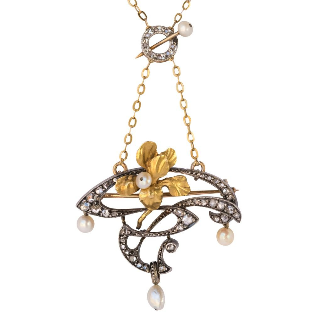 Art Nouveau Pendant - Brooch Diamonds And Pearls - Reference 00-135