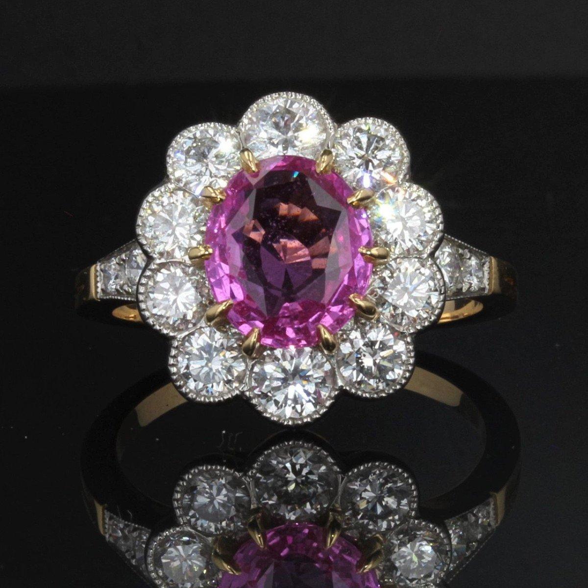 Bague Marguerite Saphir Rose Diamants Or Platine-photo-3