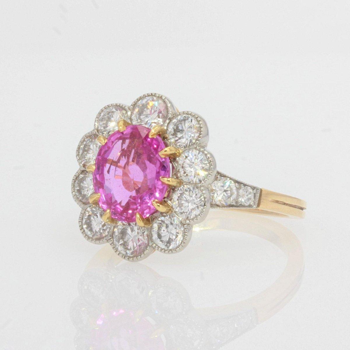 Bague Marguerite Saphir Rose Diamants Or Platine-photo-2