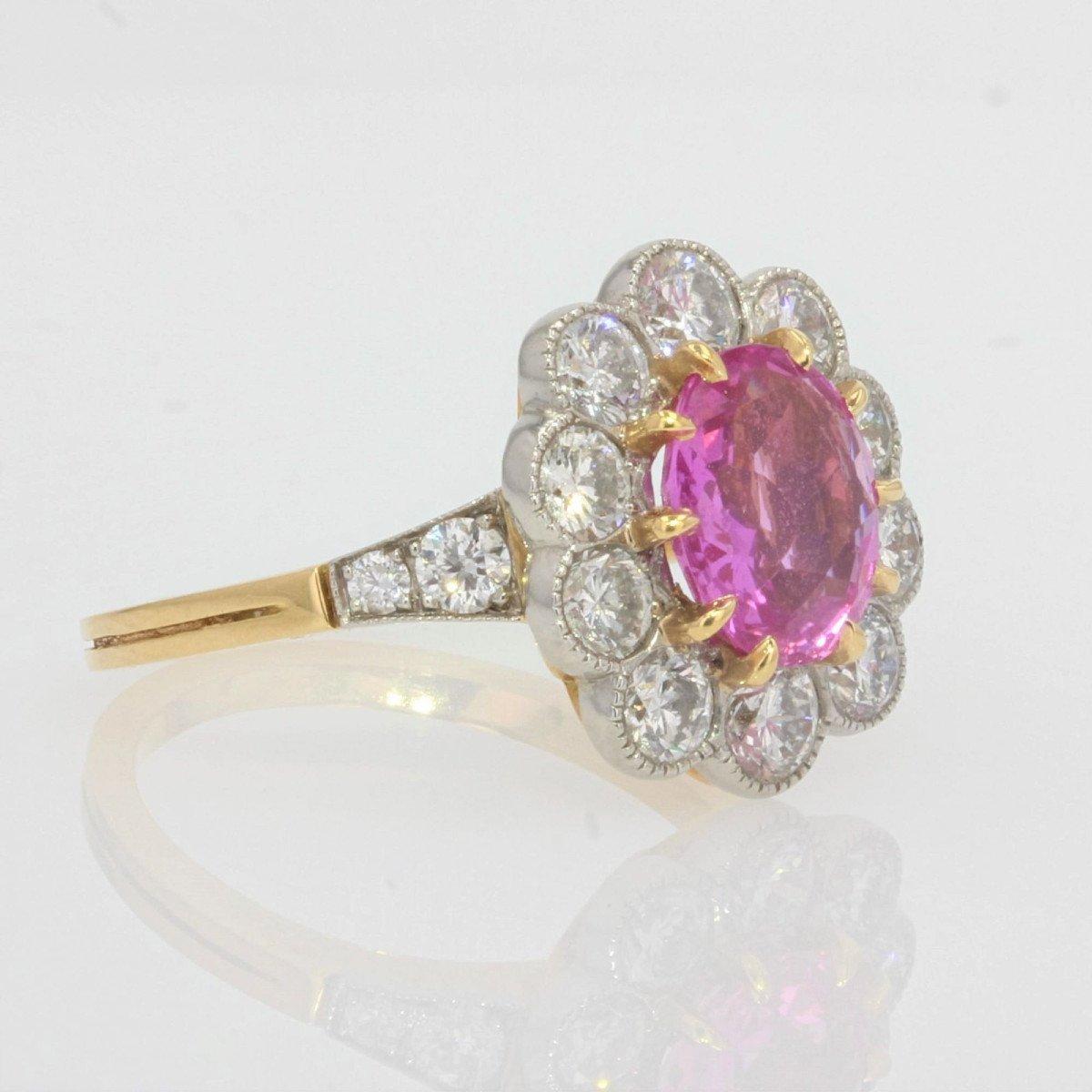 Bague Marguerite Saphir Rose Diamants Or Platine-photo-4