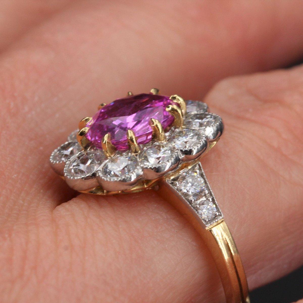 Bague Marguerite Saphir Rose Diamants Or Platine-photo-5