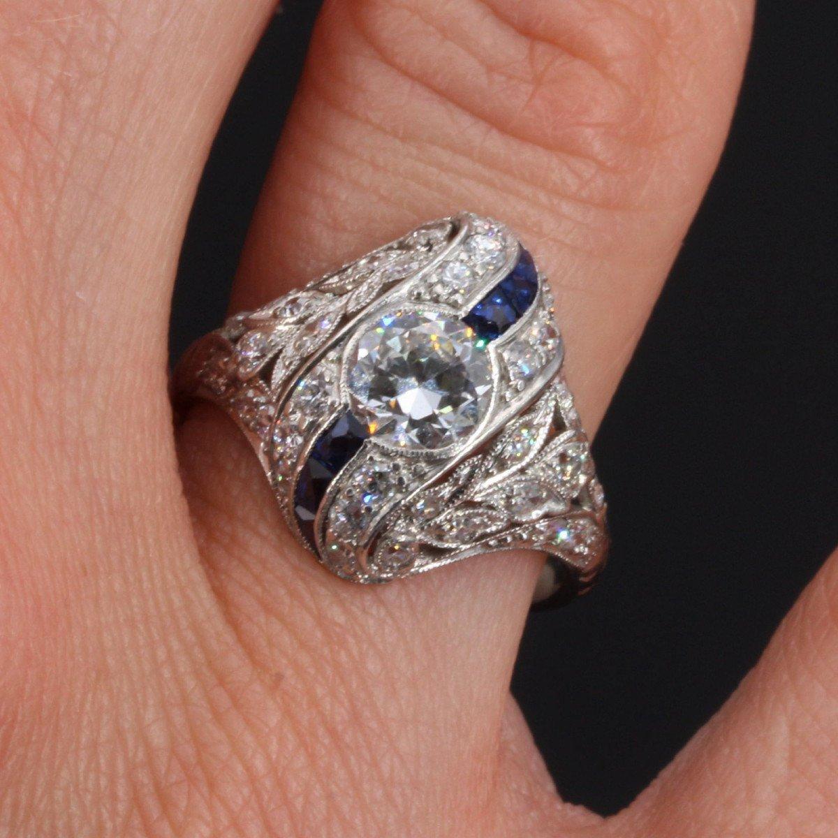 Art Deco Diamonds Calibrated Sapphires Ring-photo-1