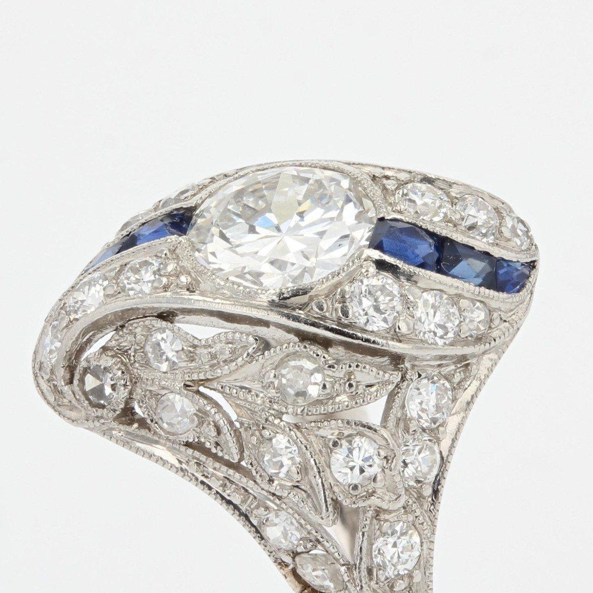 Art Deco Diamonds Calibrated Sapphires Ring-photo-3