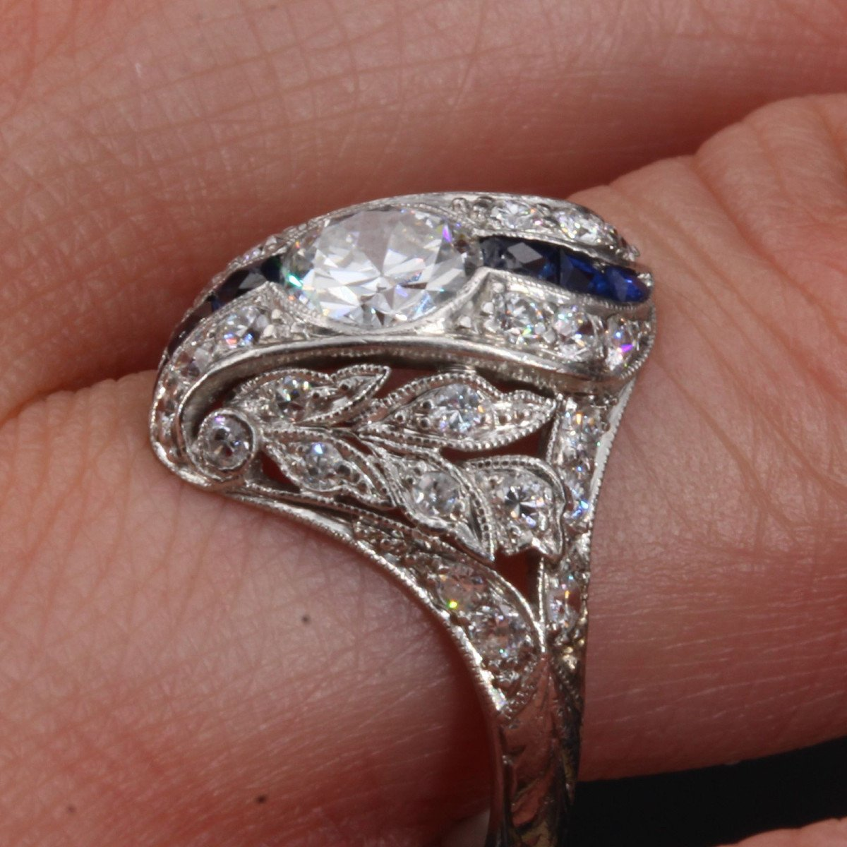 Art Deco Diamonds Calibrated Sapphires Ring-photo-5