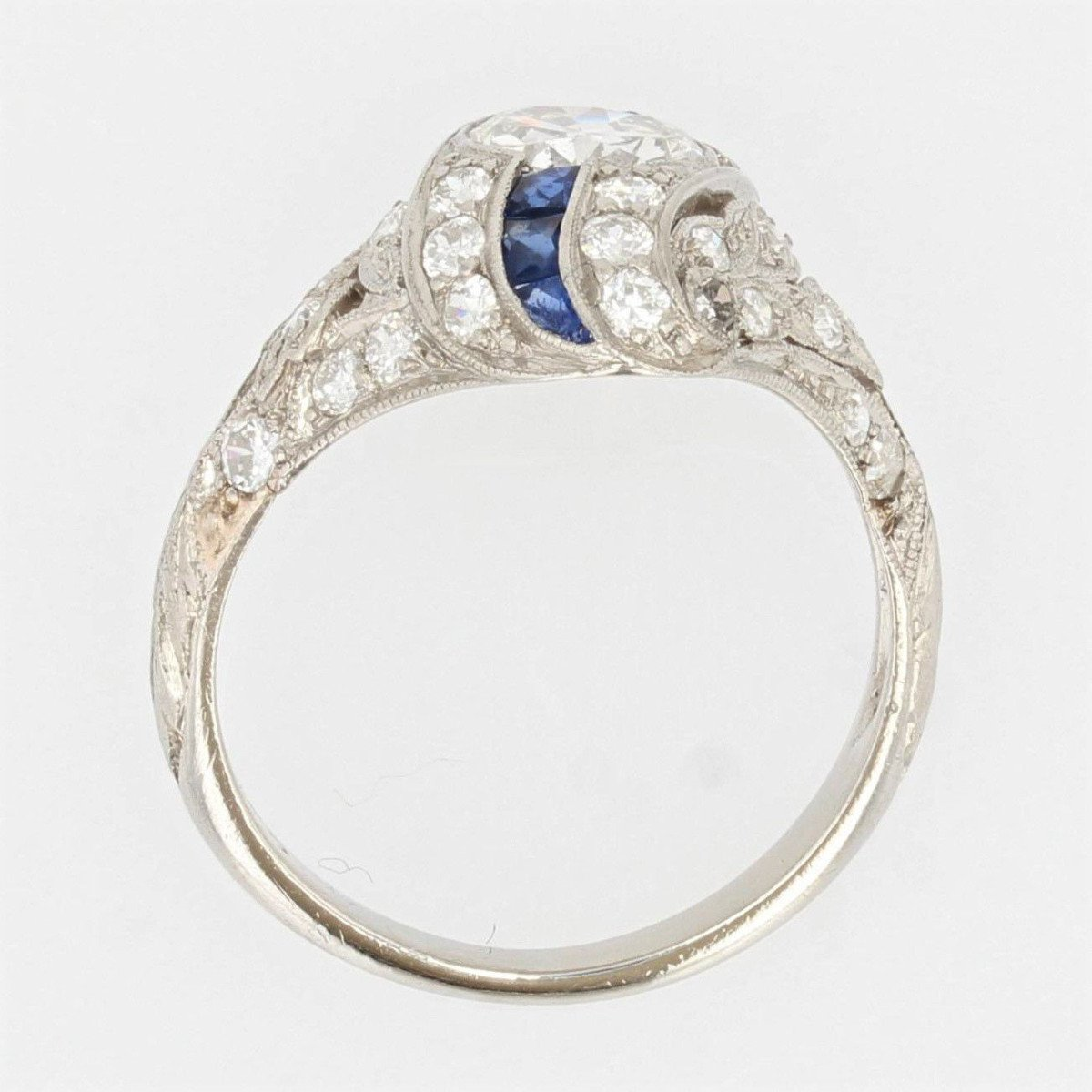 Art Deco Diamonds Calibrated Sapphires Ring-photo-6