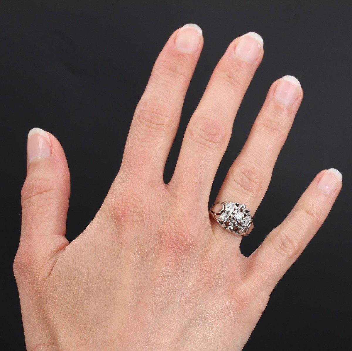 Bague Bombée Or Blanc Diamants-photo-2