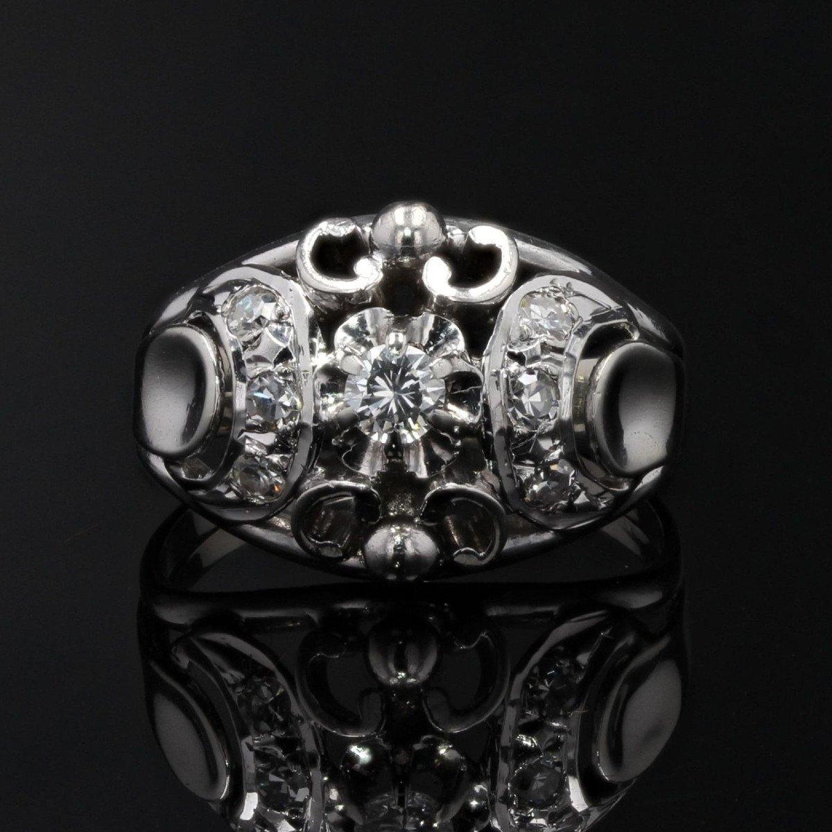 Bague Bombée Or Blanc Diamants-photo-3