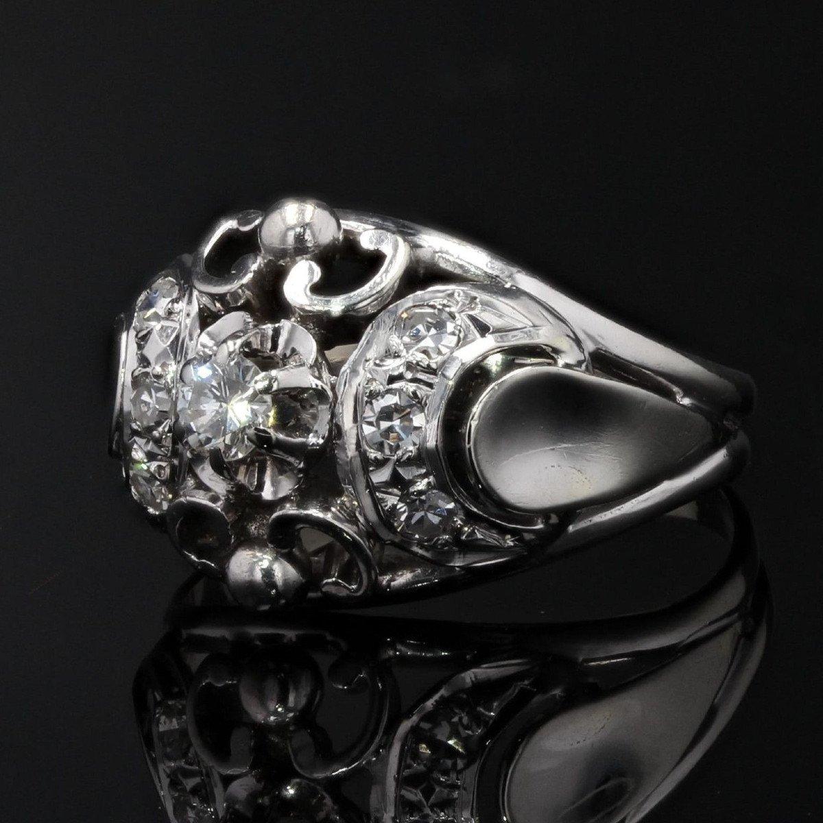 Bague Bombée Or Blanc Diamants-photo-4