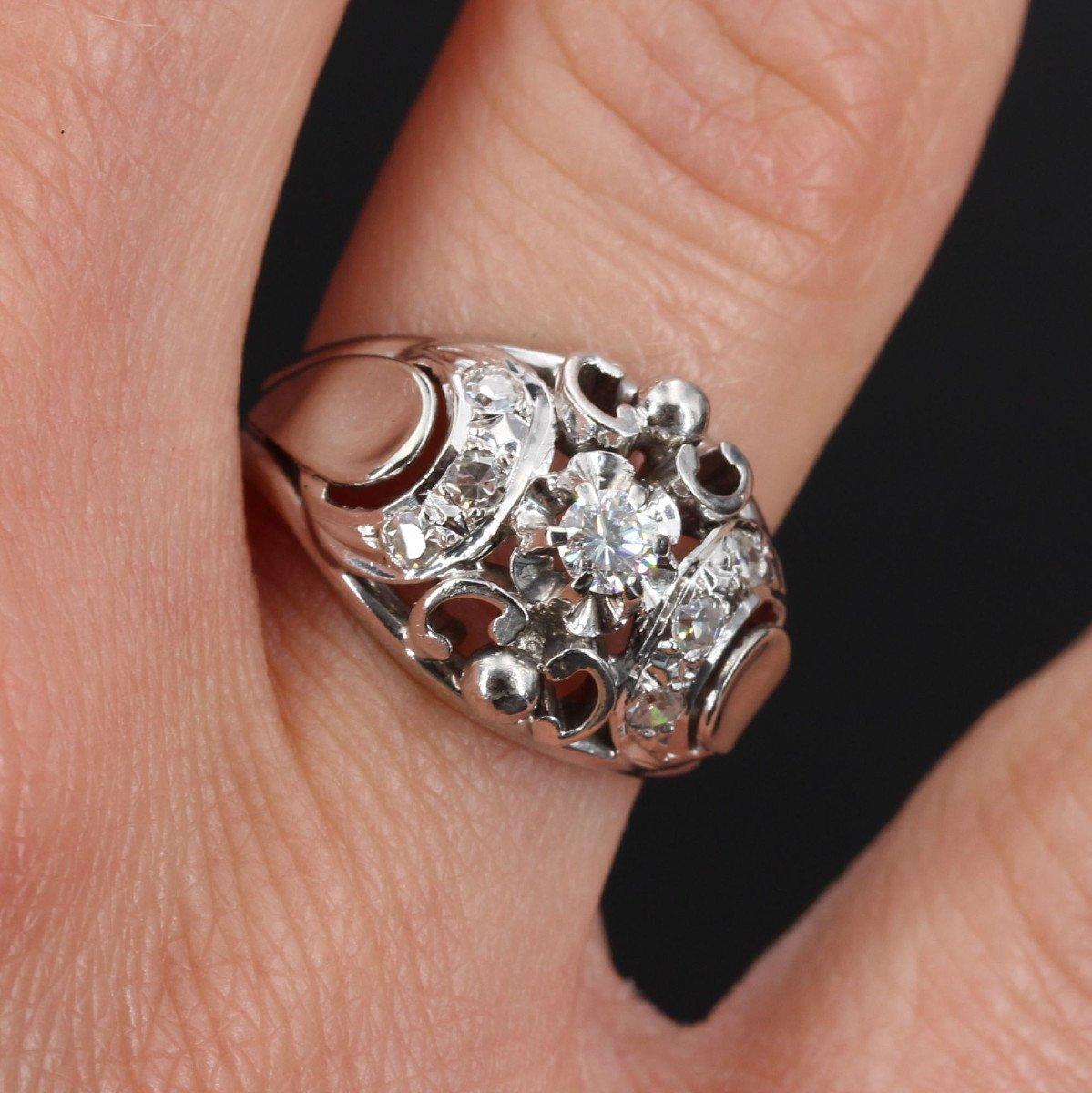 Bague Bombée Or Blanc Diamants-photo-1
