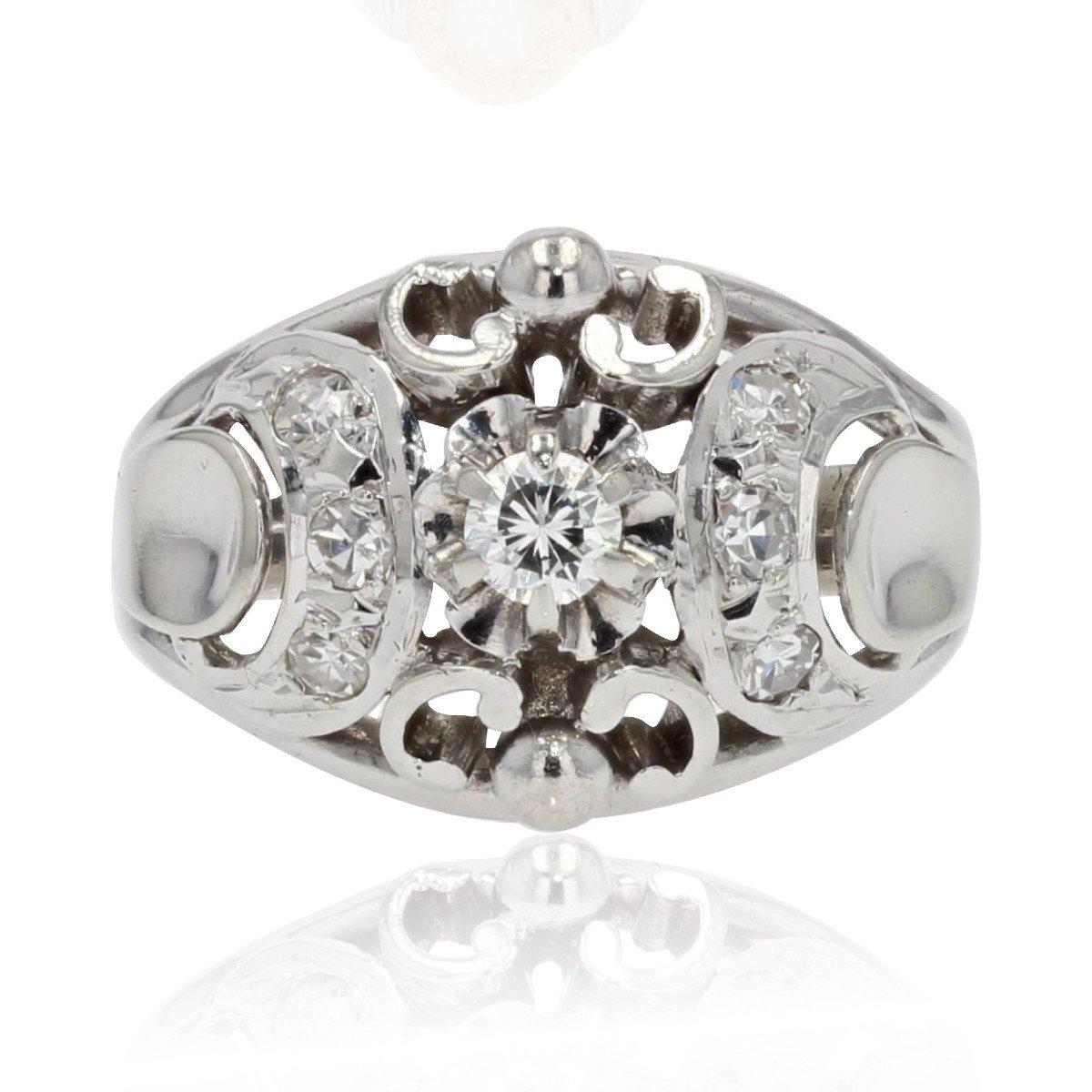 Bague Bombée Or Blanc Diamants