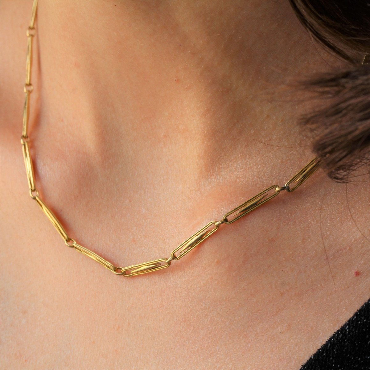 Old Necklace In Yellow Gold Grain Of Rice-photo-4