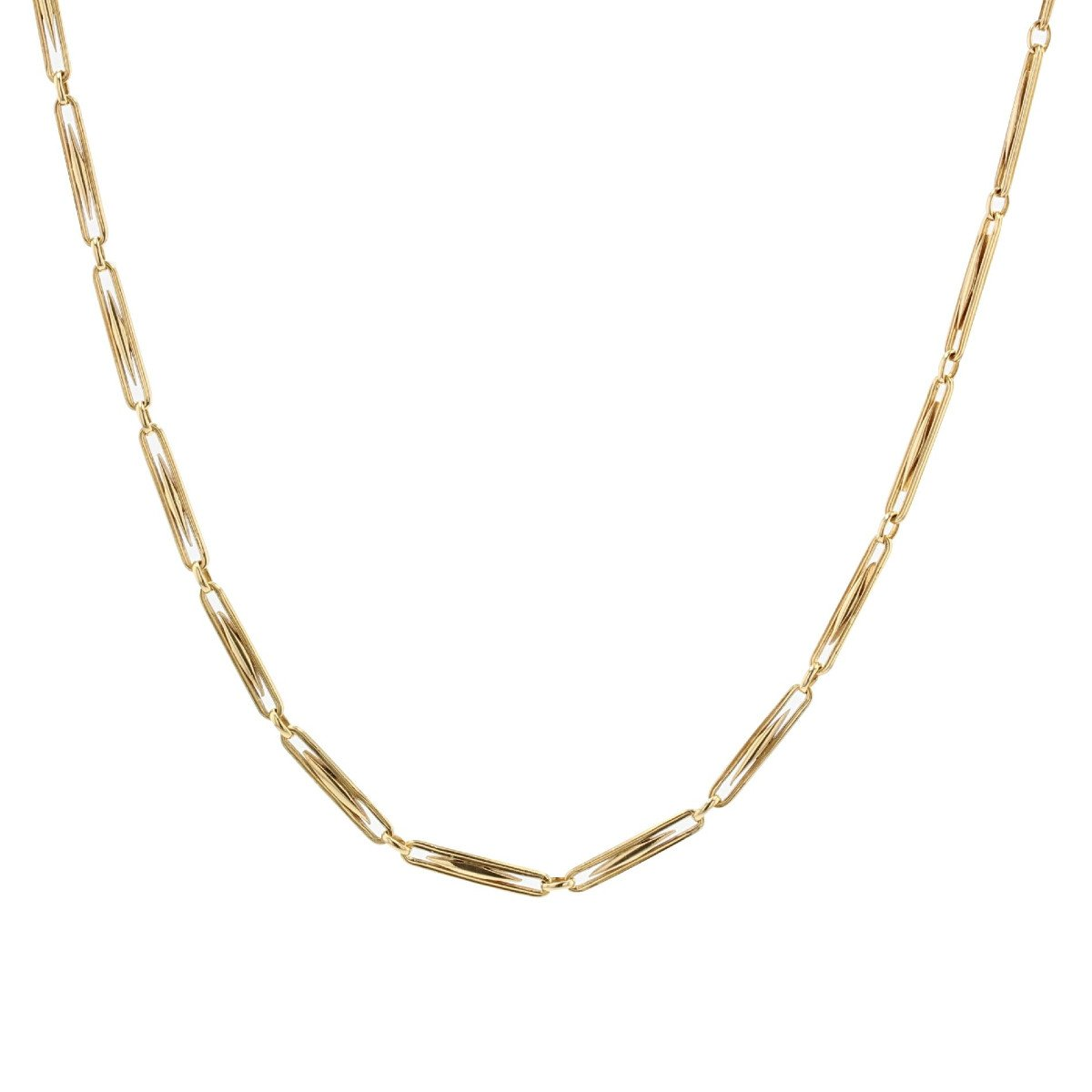 Old Necklace In Yellow Gold Grain Of Rice