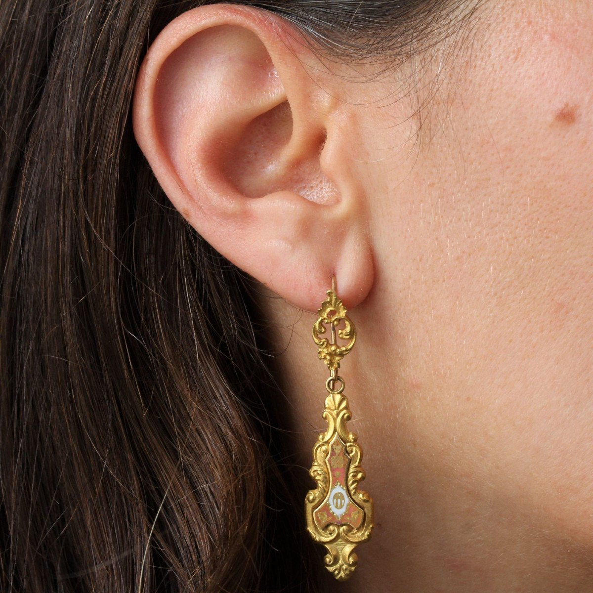 Antique Enamelled Earrings-photo-2