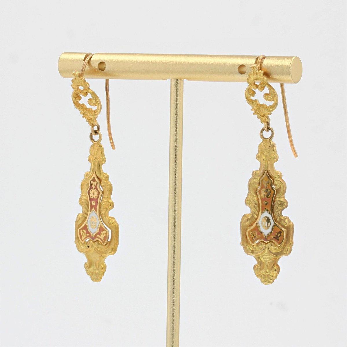 Antique Enamelled Earrings-photo-3