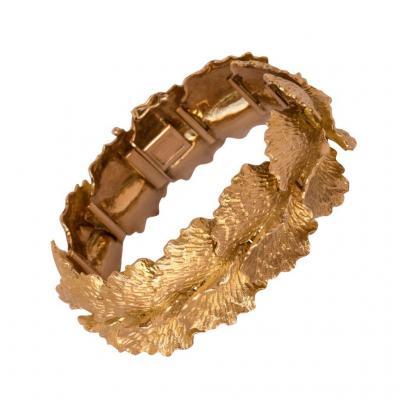 Bracelet Vintage En Or Motif Feuilles - 68,6g - 1960