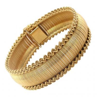 Bracelet Ancien Souple En Or Jaune - 1950/60 - 50,4 G