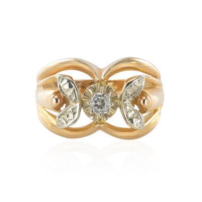 Bague Ancienne Diamants Ors Rose Et Blanc - Référence Cv3