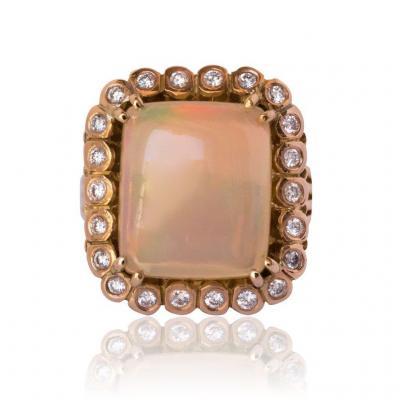 Bague Ancienne Opale Et Diamants Vintage