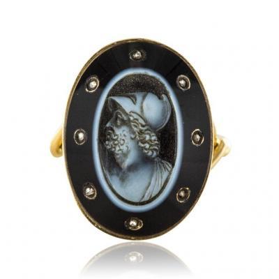 Bague Ancienne Empire Camée Sur Onyx Et Diamants