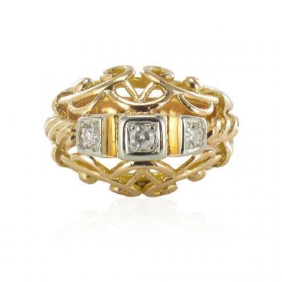 Bague Vintage Fils d'Or Rose Et Diamants