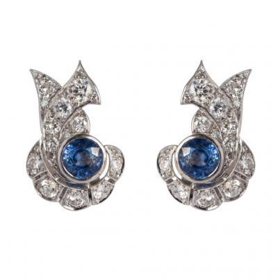 Boucles d'Oreilles Art Déco Saphir Diamants