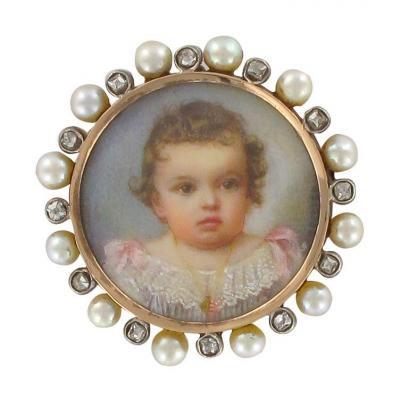 Broche Ancienne Miniature Perles Fines Et Diamants