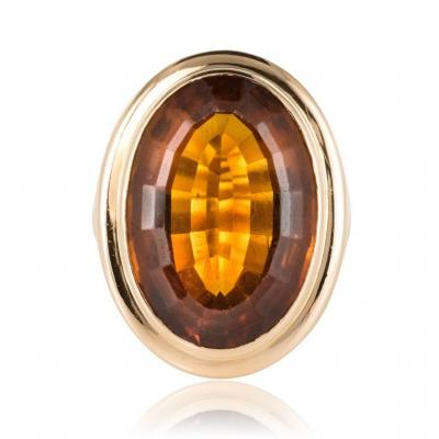 Bague Citrine Or Jaune Vintage