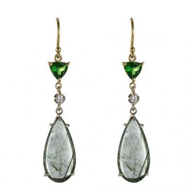 Boucles d'Oreilles Quartz à Rutile Grenats Tsavorites Et Diamants