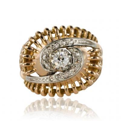 Bague Rétro Tourbillon De Diamants