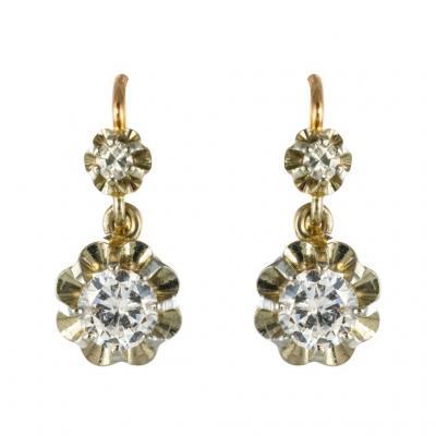 Boucles d'Oreilles Dormeuses Diamants 2 Ors