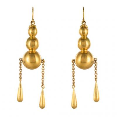 Drop Earrings Beads And Gold Drops