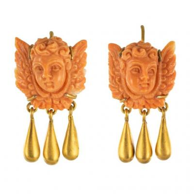 Coral And Gold Angels Earrings