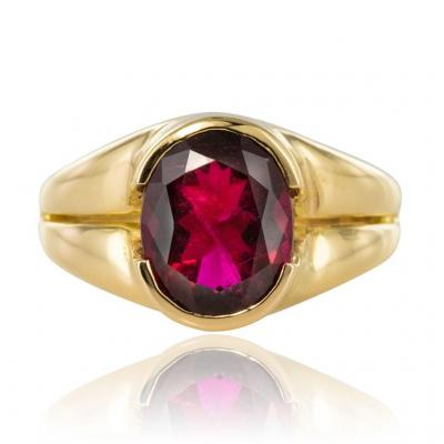Bague Tourmaline Rubellite Or Jaune