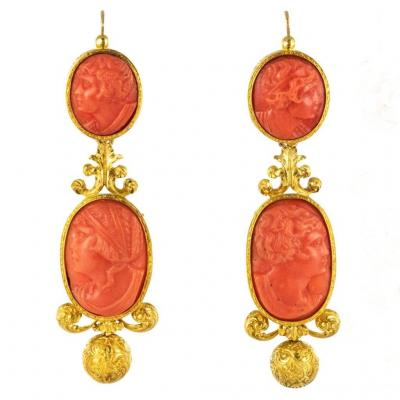 Pendants Earrings Old Cameos On Coral