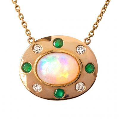Diamond Emerald Opal Necklace