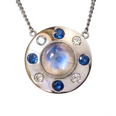 Moonstone Necklace Sapphires Diamonds