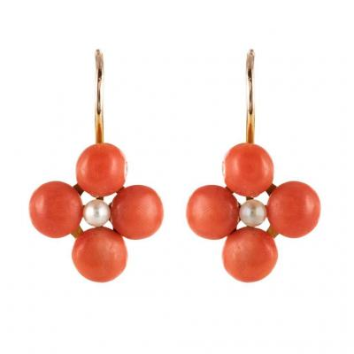 Earrings Earrings Coral Clovers And Fine Pearls