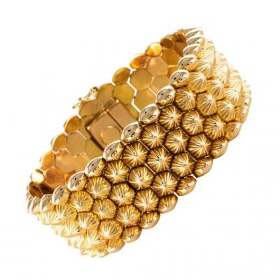 Yellow Gold Honeycomb Bracelet