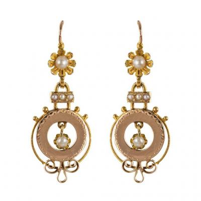 Antique Rose Gold Earrings With Pearls