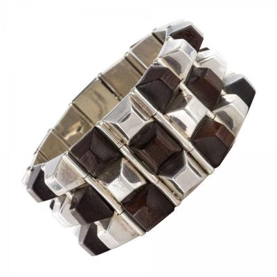 Silver And Rosewood Bracelet