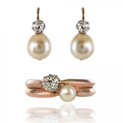 Ancient Fine Pearls And Diamonds Set