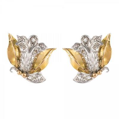 Boucles d'Oreilles Vintage Fleurs Diamants