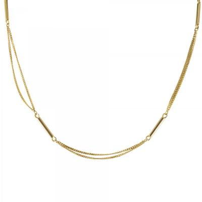 Double Gold Chain Curb Chain And Sticks