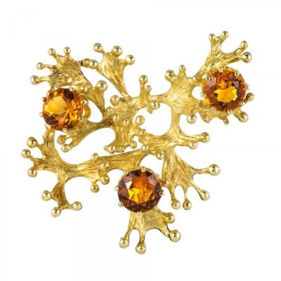 Orange Garnets Retro Brooch