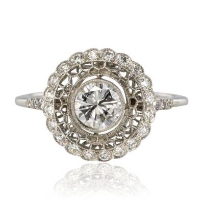 Platinum Lace And Diamonds Round Ring