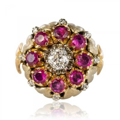 Old Flower Diamond And Ruby Ring