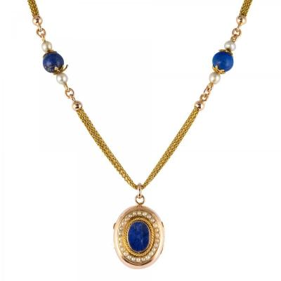 Ancient Necklace And Its Lapis Lazuli Medallion And Fine Pearls