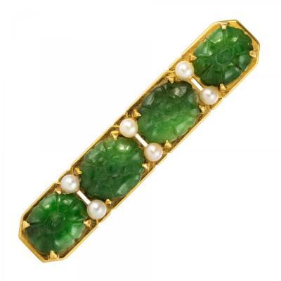 Broche Ligne De Jades Et Perles